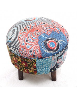 Badmeri Vintage Ottoman Indian Kantha  embroidery Work New Style Footstool  Pouf ottoman with Designer hand work.
