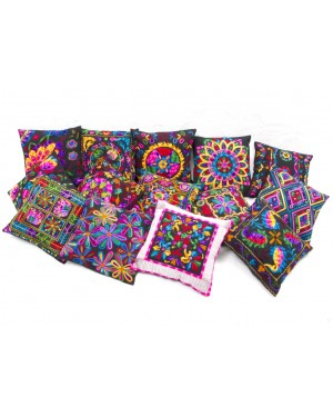 "Designer handcrafted ""la badam"" Decor  Cushion Covers Set of 5 Cushions Cover Vintage  Style Handmade Kantha Designed in Paris, Crafted India. Kantha bengal"