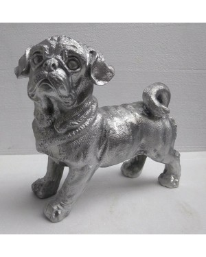 Rustic Iron Hammered Resting  Dog Figurine, Rust Rought Iron  6 x 12.5 x 13.75 Inches