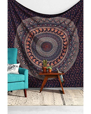 Jaipur Handloom Brown & White Peacock Mandala Tapestries Hippie Tapestry Hippy Indian Dorm Decor Psychedelic Tapestry Wall Hanging Bohemian Bedspread Bedding Bed Cover Beach Blanket picnic Sheet