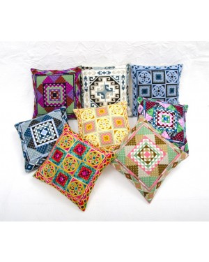 "Designer handcrafted ""la badam"" Decor  Cushion Covers Set of 5 Cushions Cover Vintage  Style Handmade Kantha Designed in Paris, Crafted India. Bengali Work"