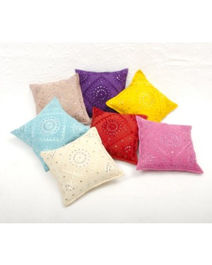"Designer handcrafted ""la badam"" Decor  Cushion Covers Set of 7 Cushions Cover Vintage  Style Handmade Kantha Designed in Paris, Crafted India. Kutch Work"