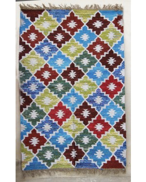Designer Handweave Punja dhurrie with Kilim fabric specially design and crafted by Artisans Natural and Ecofriendly