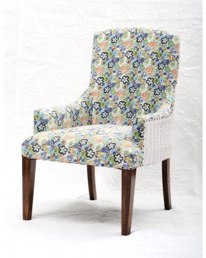 Vintage Kantha Patchwork Upholstered  Sofa Chair in Melody Patchwork Multi Arm  Chair Vintage Kantha Sofa Patchwork Chair