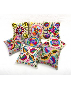 "Designer handcrafted ""la badam"" Decor  Cushion Covers Set of 5 Cushions Cover Vintage  Style Handmade Kantha Designed in Paris, Crafted India. Suani work"